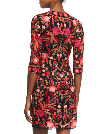 3/4-Sleeve Floral-Embroidered Cocktail Dress, Red/Black