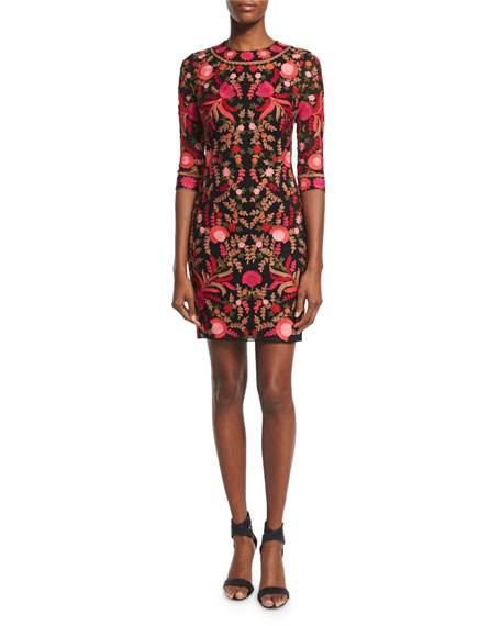 Naeem Khan 3/4-Sleeve Floral-Embroidered Cocktail Dress, Red/Black