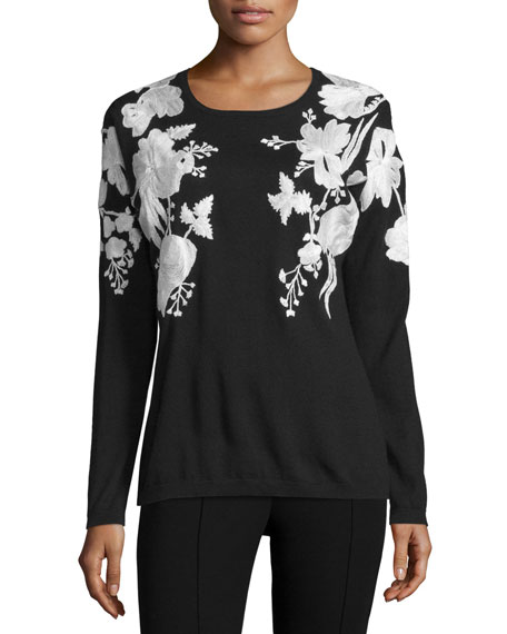 Floral-Embroidered Cashmere Sweater, Black/White