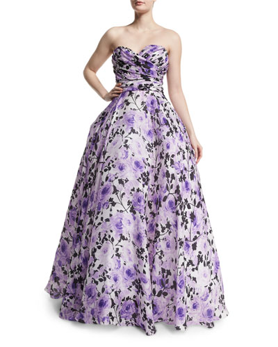 Sweetheart-Neck Strapless Floral-Print Gown, Purple/White
