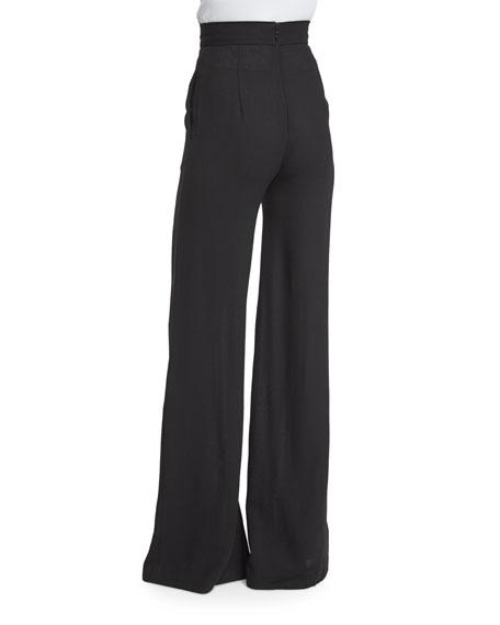 High-Waist Wide-Leg Pants, Black