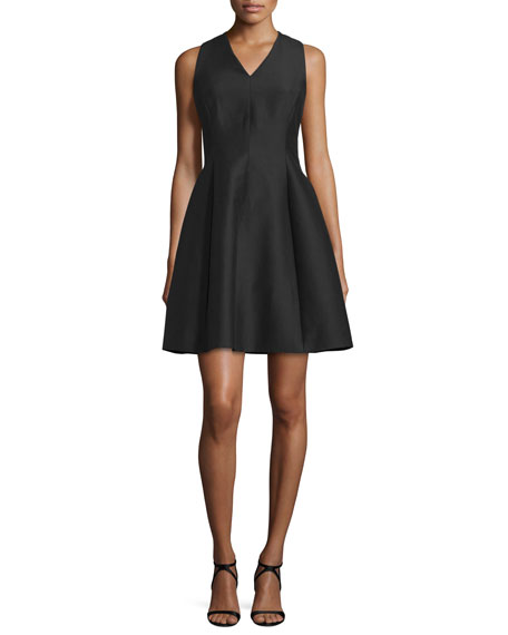 Halston Heritage Sleeveless V-Neck Party Dress, Black