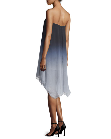 Strapless Ombre Flowy Dress, Mist Tonal
