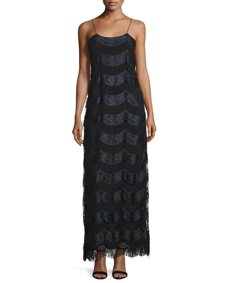 ZAC Zac Posen Stevie Sleeveless Embroidered Gown, Black