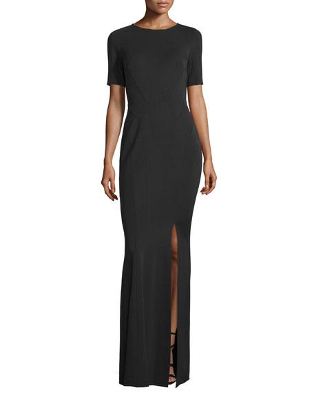 ZAC Zac Posen Ariel Short-Sleeve Fitted Gown, Black