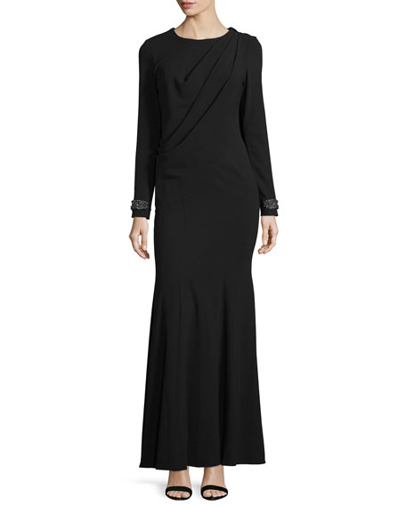 ZAC Zac Posen Colette Embellished-Cuff Pleated Gown, Onyx
