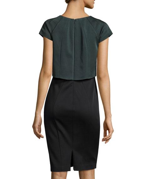 Nicole Cap-Sleeve Popover Dress, Anthracite/Onyx
