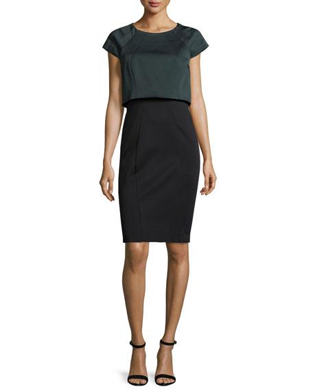 ZAC Zac Posen Nicole Cap-Sleeve Popover Dress, Anthracite/Onyx