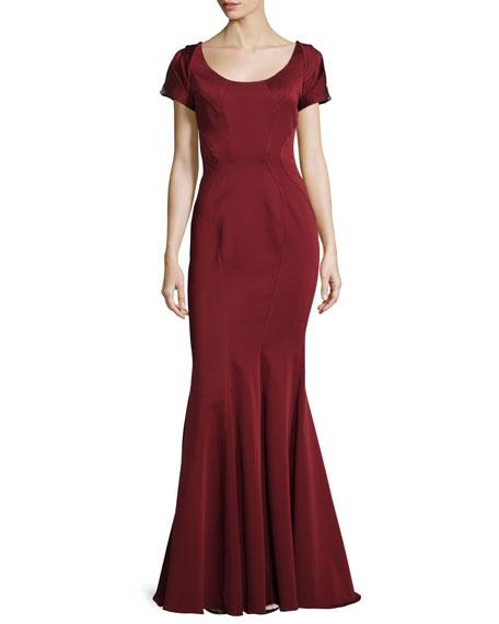 ZAC Zac Posen Julianne Short-Sleeve Mermaid Gown, Garnet