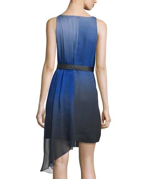 Sleeveless Ombre Pleated Dress, Wisteria
