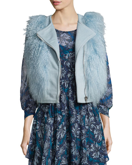 Rebecca Taylor Asymmetric-Zip Fur-Trim Vest, Icicle Blue