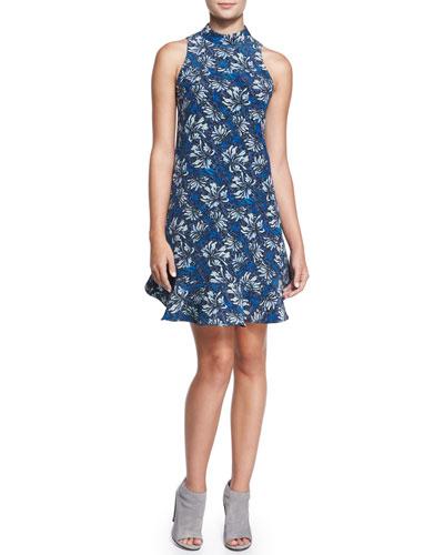 Sleeveless Mystic Floral Flare-Hem Dress, Navy