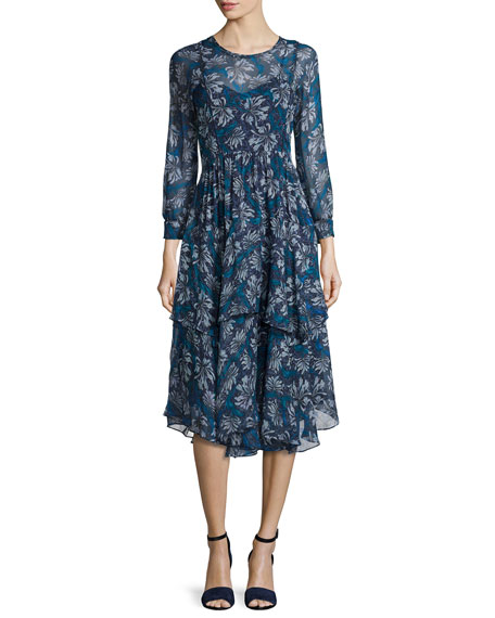 Rebecca TaylorMystic Silk Chiffon Dress, Navy