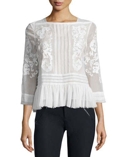 Pop Paisley Embroidered Top, Snow