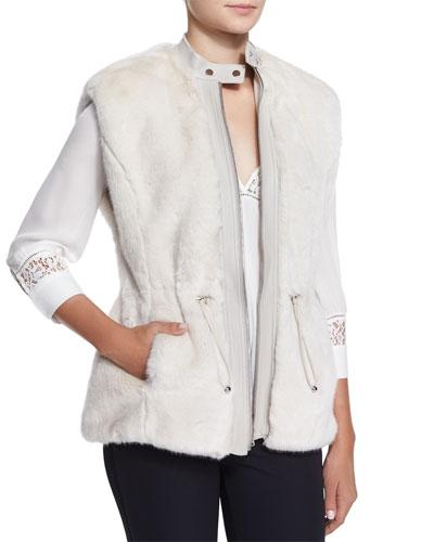 Faux-Fur Leather-Trim Drawstring Vest, Polar Bear White