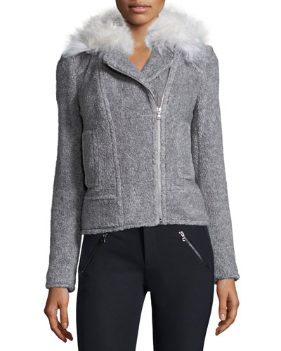 Fur-Trim Wool-Blend Moto Jacket, Light Gray