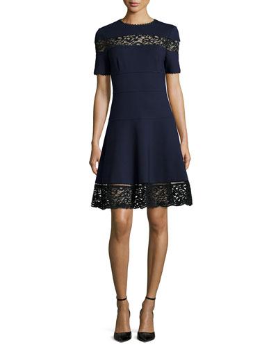 Lace-Trim Ponte A-Line Dress, Navy