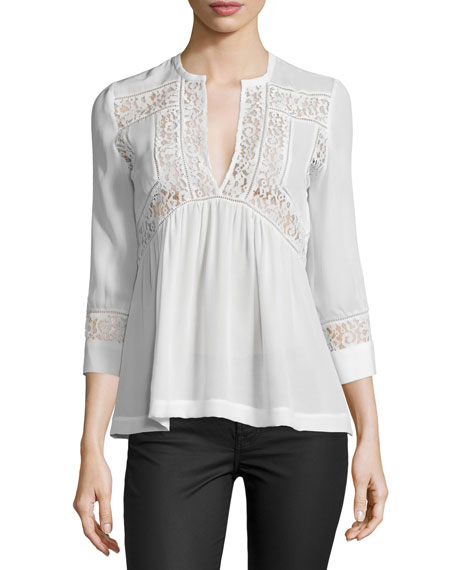 Rebecca Taylor 3/4-Sleeve Silk & Lace Top, Snow