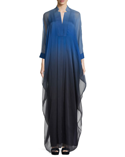 3/4-Sleeve Ombre Caftan Gown, Wisteria