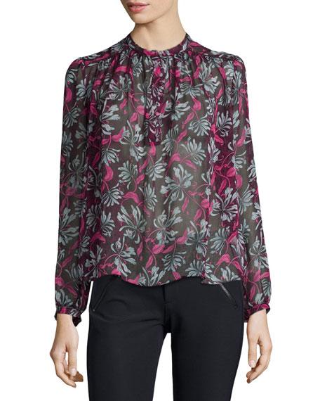 Rebecca Taylor Long-Sleeve Mystic Floral Blouse, Plum