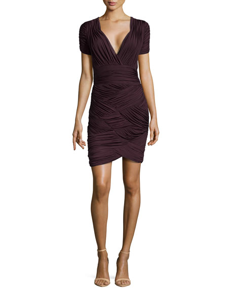 Halston Heritage Ruched Faille V-Neck Dress, Aubergine