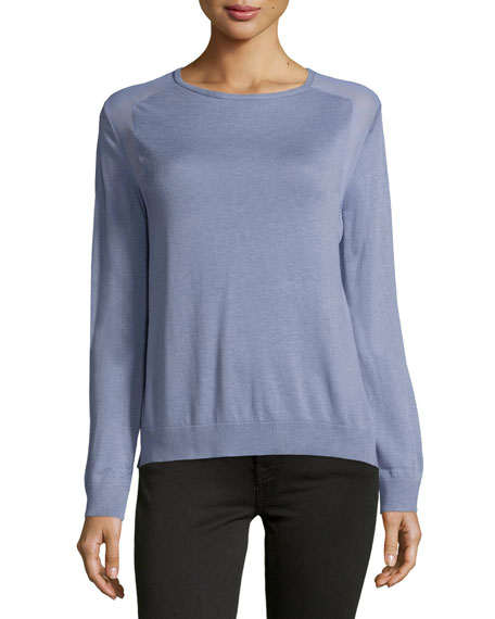 Halston Heritage Long-Sleeve Sheer-Inset Sweater, Lavender