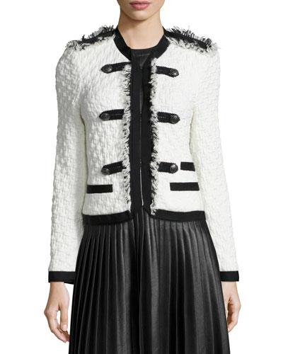 Lana Tweed Military Jacket, Chalk