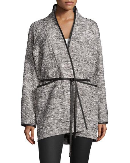 Rebecca Taylor Tweed Tie-Waist Jacket, Black/White