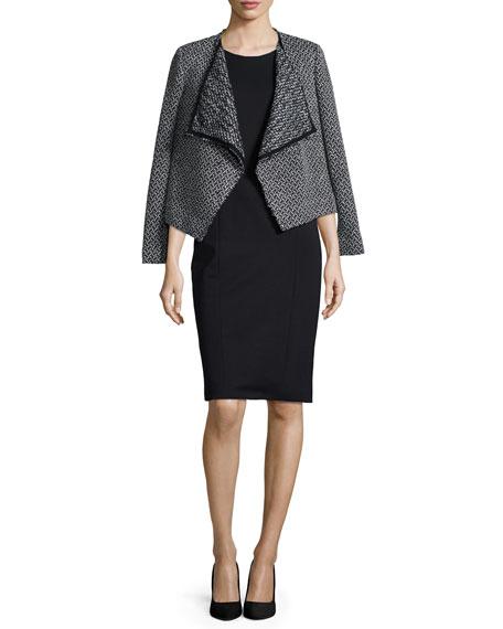 Tweed Draped-Front Jacket, Black/White