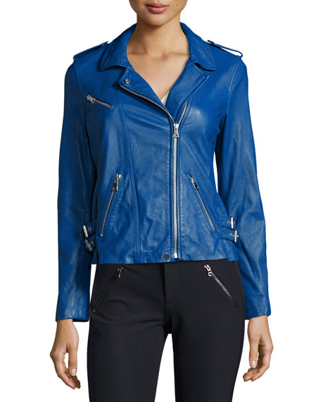 Rebecca Taylor Zip-Trim Leather Motorcycle Jacket, Electric Blue
