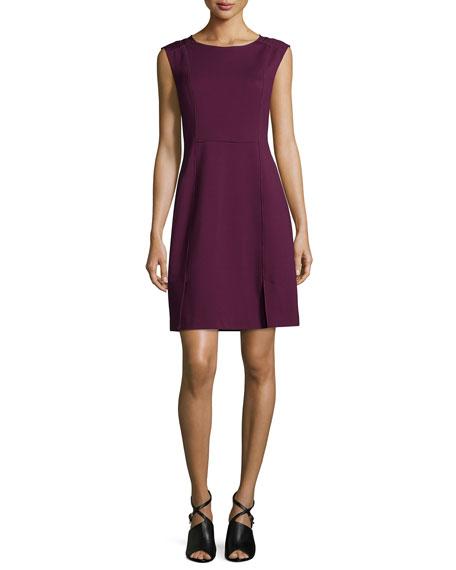 Rebecca Taylor Sleeveless Mesh-Trim Ponte Sheath Dress, Oxblood