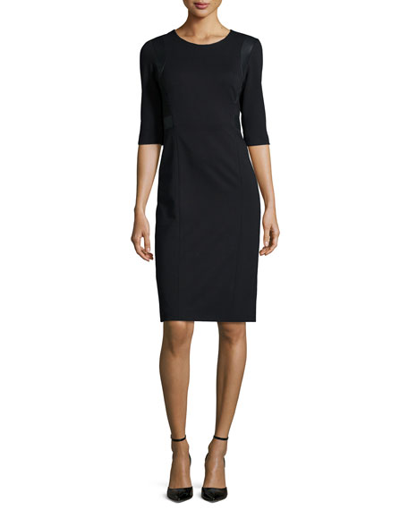 Rebecca Taylor 3/4-Sleeve Faux-Leather-Trim Ponte Sheath Dress,