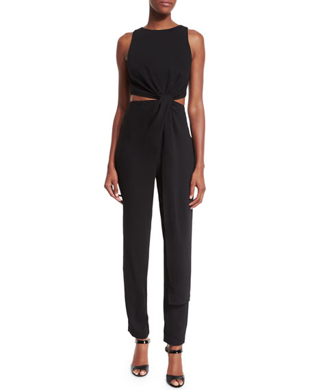 Halston Heritage Sleeveless Twist-Front Jumpsuit, Black