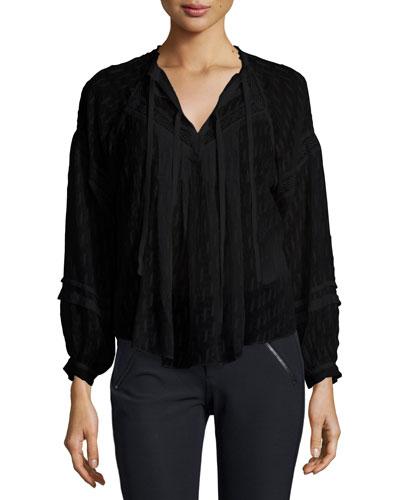 Lace-Trim Fil Coupe Top, Black