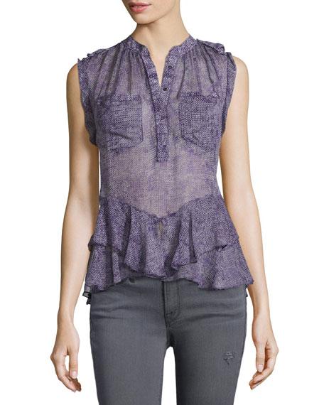 Rebecca Taylor Printed Silk Ruffle-Trim Blouse, Dewberry