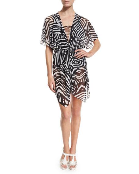 FuzziAbstract-Print Kimono Coverup W/Mesh Inset, Black/White
