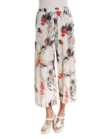 FuzziPrinted Culotte Coverup Pants, White