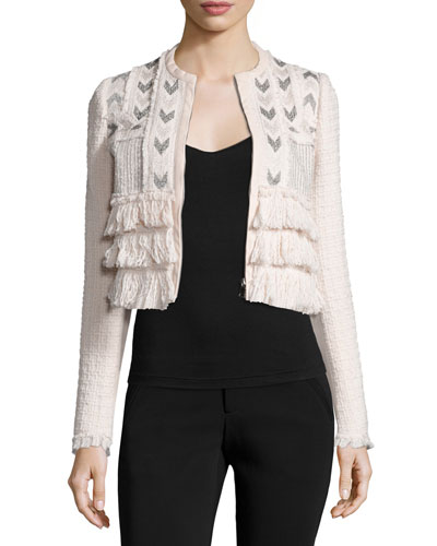 Cropped Tweed Jacket w/ Embroidery, Movida