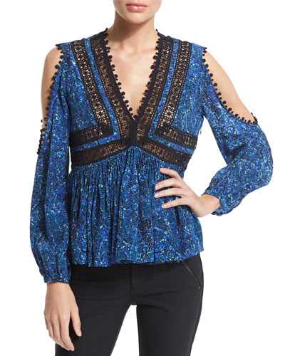 Long-Sleeve Paisley Cold-Shoulder Top, Rainstorm