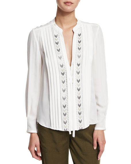 Rebecca Taylor Long-Sleeve Pleated Chevron-Embroidered Silk Top, Snow