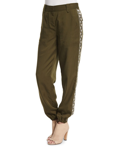 Rebecca Taylor Embroidered Twill Pants, Hunter Green