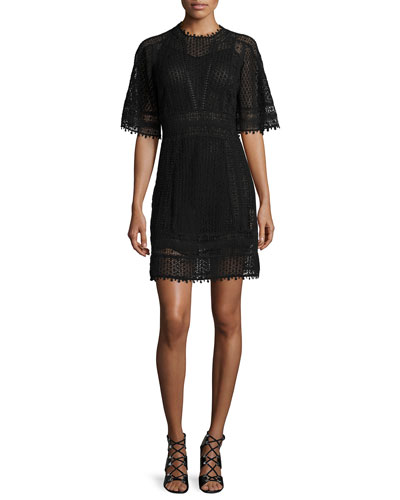 Short-Sleeve Guipure-Lace Mini Dress, Black