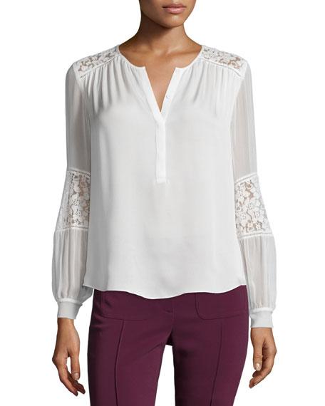 Rebecca Taylor Long-Sleeve Silk & Lace Blouse, Chalk