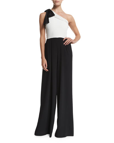 Alice + Olivia Debi Pleated One-Shoulder Combo Jumpsuit. Black/White