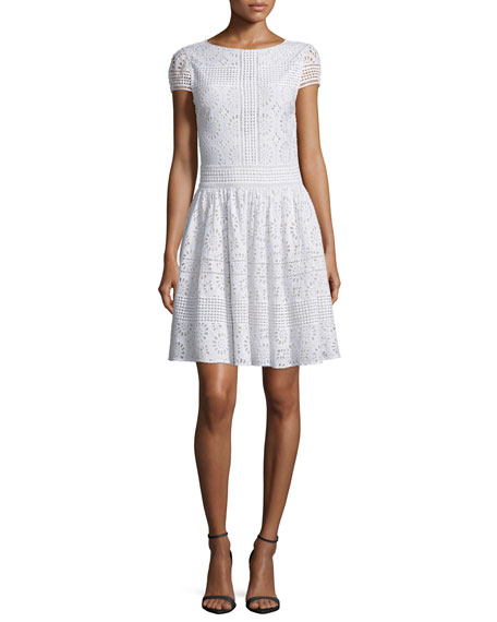 Alice + Olivia Imani Crochet Medallion Dress, White