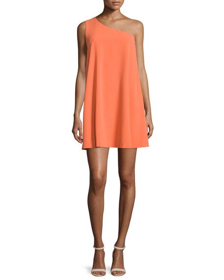 Alice + Olivia Electra Crepe One-Shoulder Shift Dress, Orange