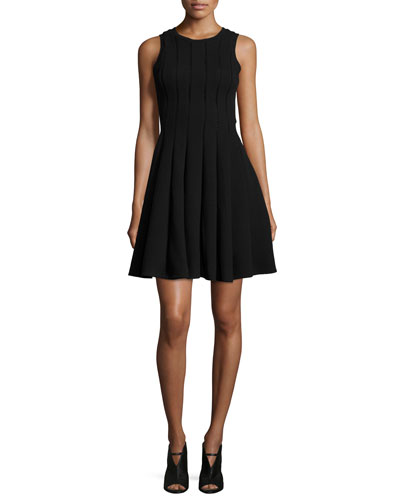 Sleeveless Pleated Pique Fit-and-Flare Dress, Black