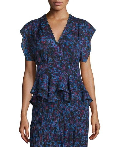 Rebecca Taylor Bouquet Rhapsody Silk-Blend Top, Blue