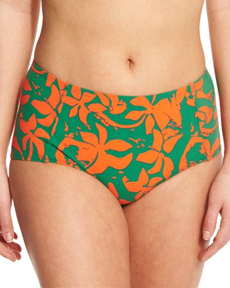 Tory Burch Minorca Printed High-Waist Swim Bottom, Athena/Green