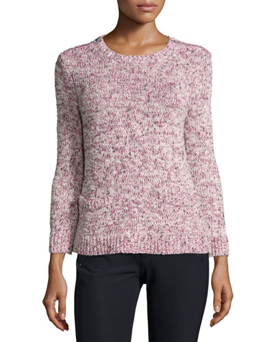 Melange-Knit Pullover Sweater, Berry